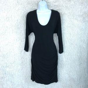 Dolman Tee Dress Black Jersey Knit Banana Republic